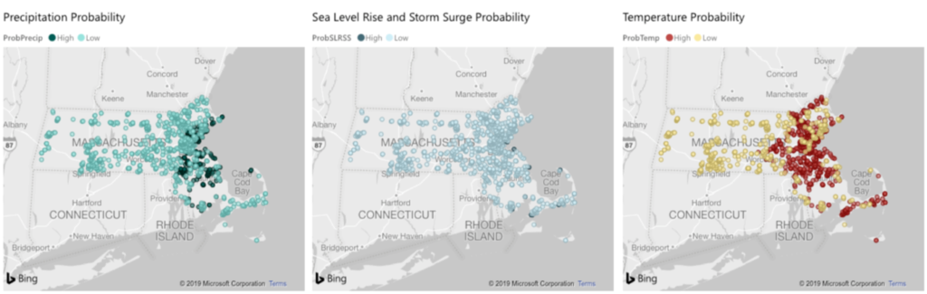 3 maps of Massacusetts: the locations of developments and their corresponding exposure to the three main hazard categories assessed, sea level rise/storm surge, precipitation, and extreme heat.